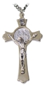 "3"" Silver color Crucifix with double struck St. Benedict medal"