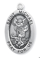 "St. Michael 1.3"" Oval Sterling Silver Medal"