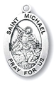 "St. Michael 1.1"" Oval Sterling Silver Medal"