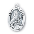 "St. Theresa 1.3"" Oval Sterling Silver Medal"